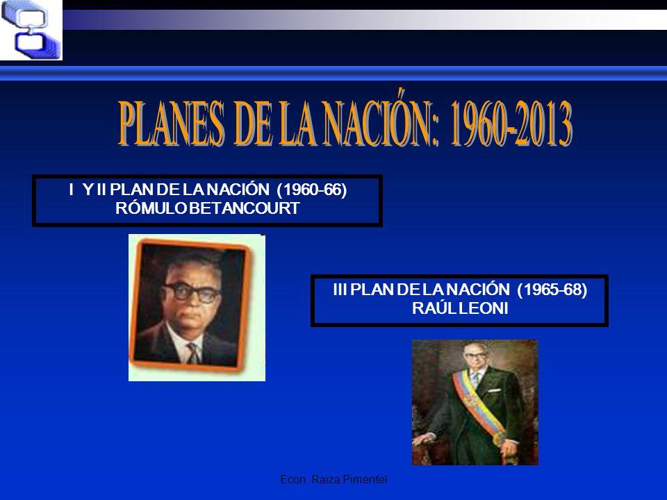 I Y II PLAN DE LA NACIÓN (1960-66) III PLAN DE LA NACIÓN (1965-68)