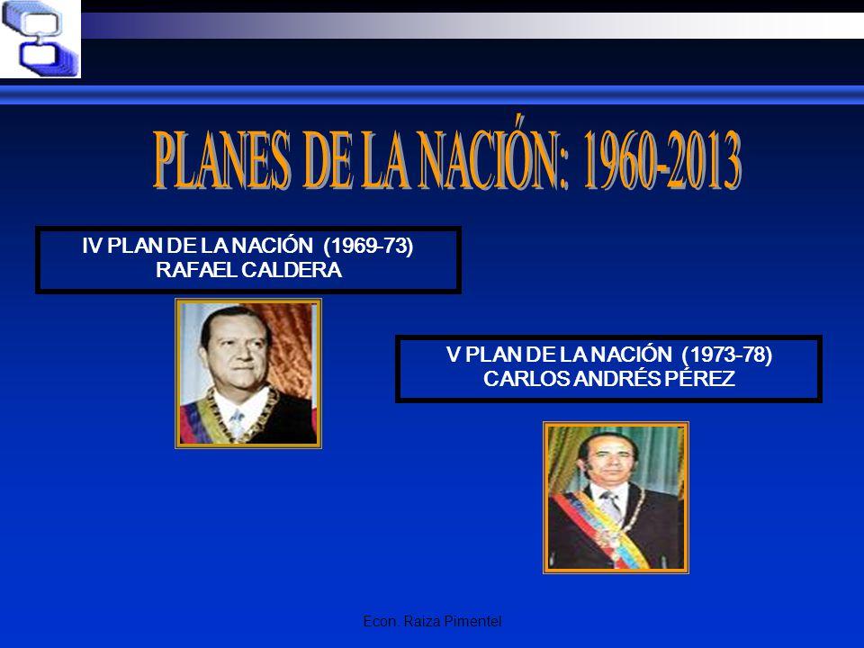 PLANES DE LA NACIÓN: 1960-2013 IV PLAN DE LA NACIÓN (1969-73)