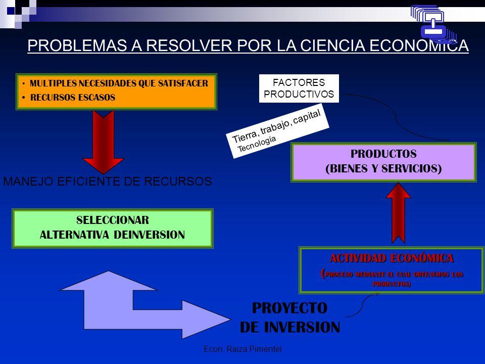 PROBLEMAS A RESOLVER POR LA CIENCIA ECONOMICA