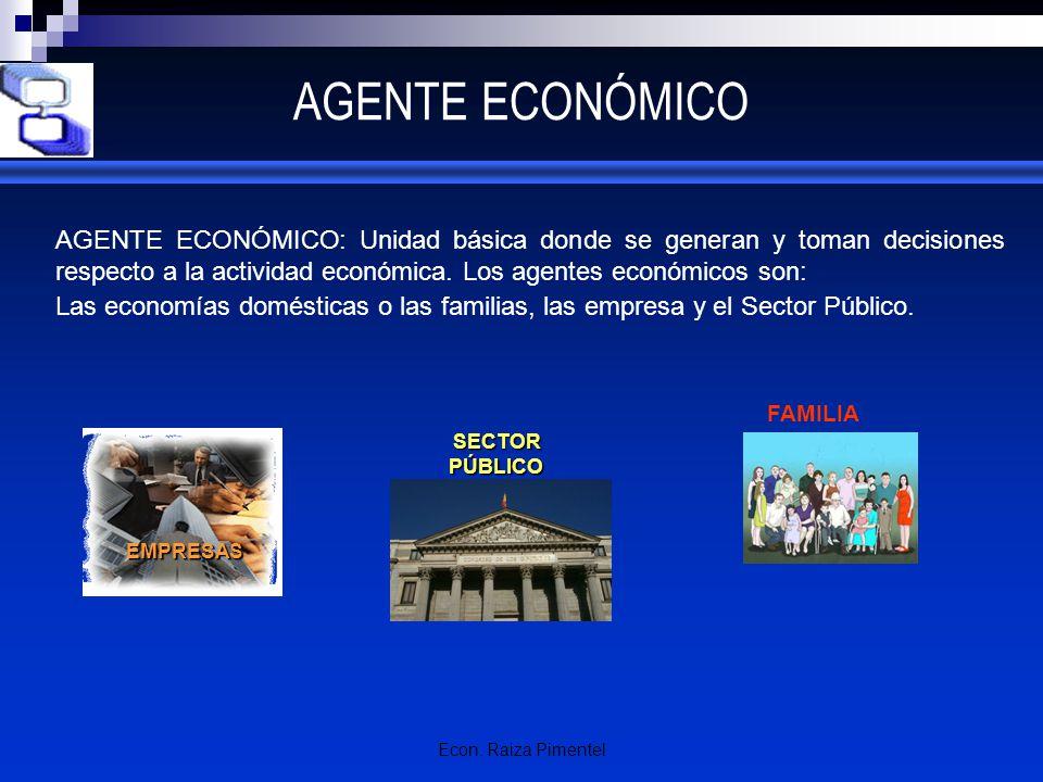 AGENTE ECONÓMICO AGENTE ECONÓMICO: Unidad básica donde se generan y toman decisiones respecto a la actividad económica. Los agentes económicos son: