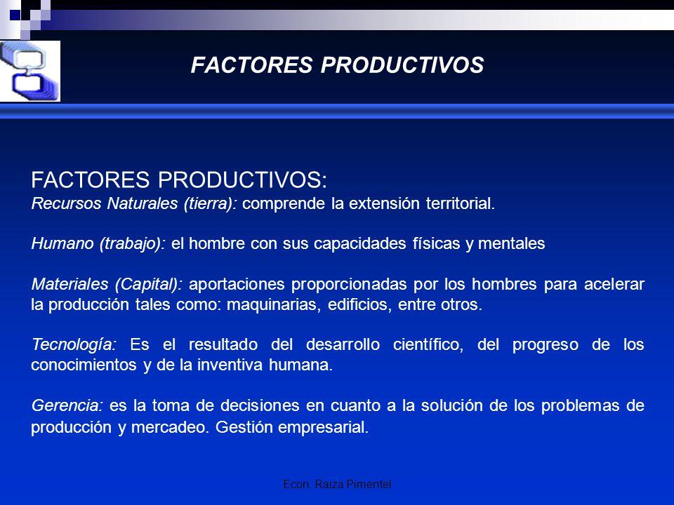 FACTORES PRODUCTIVOS: