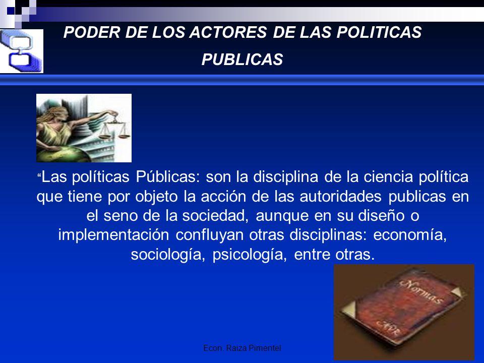 PODER DE LOS ACTORES DE LAS POLITICAS PUBLICAS