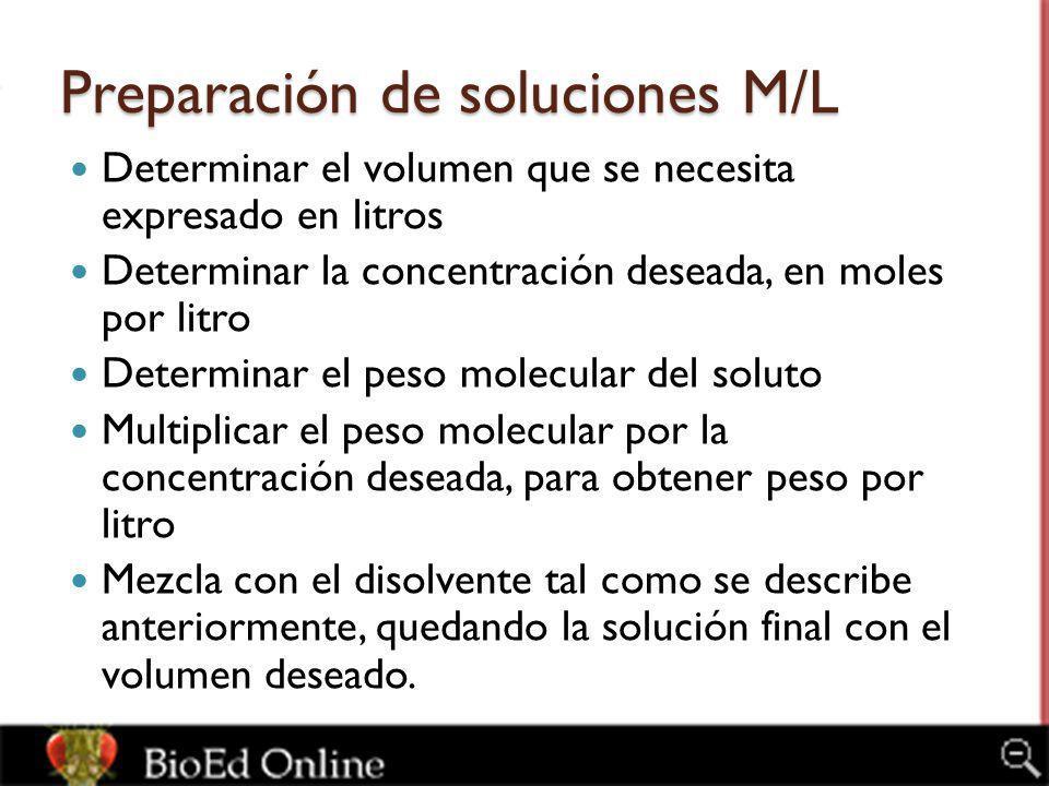 Preparación de soluciones M/L