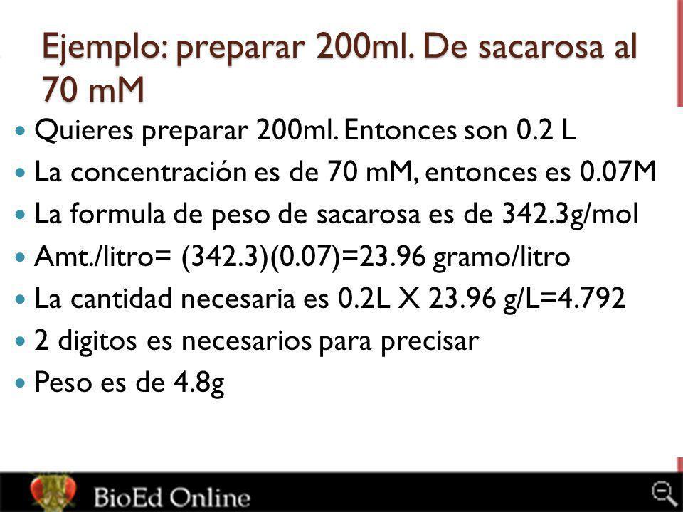 Ejemplo: preparar 200ml. De sacarosa al 70 mM