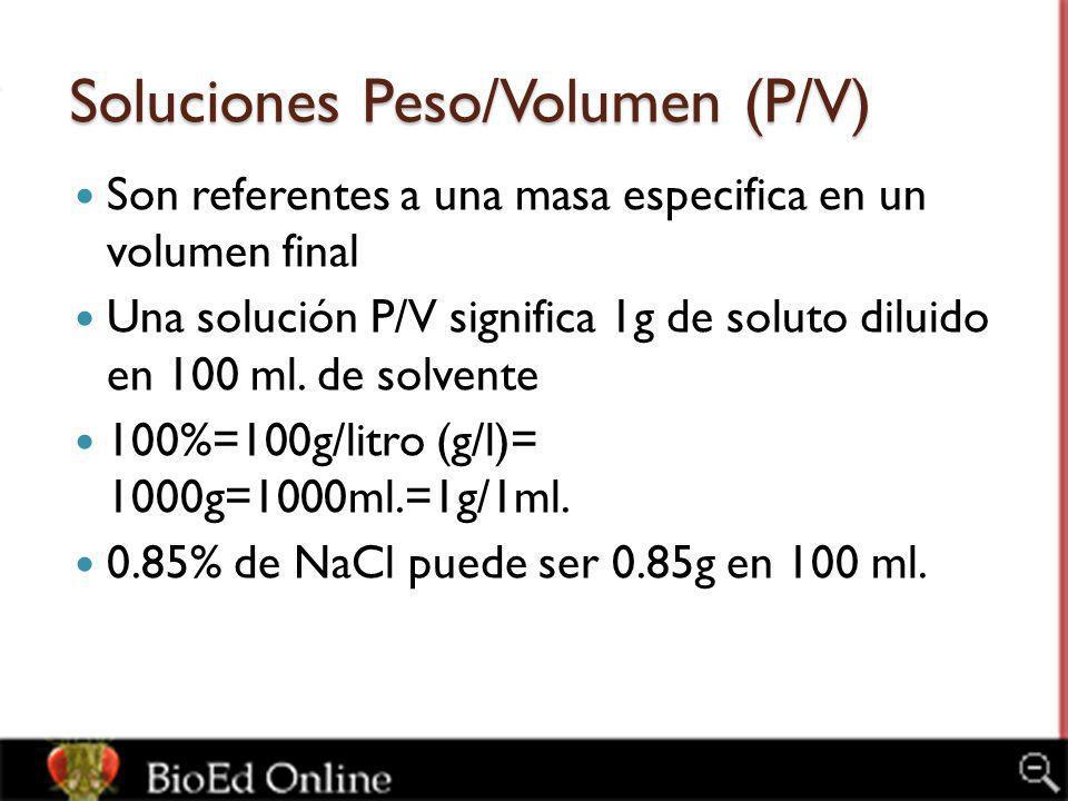Soluciones Peso/Volumen (P/V)