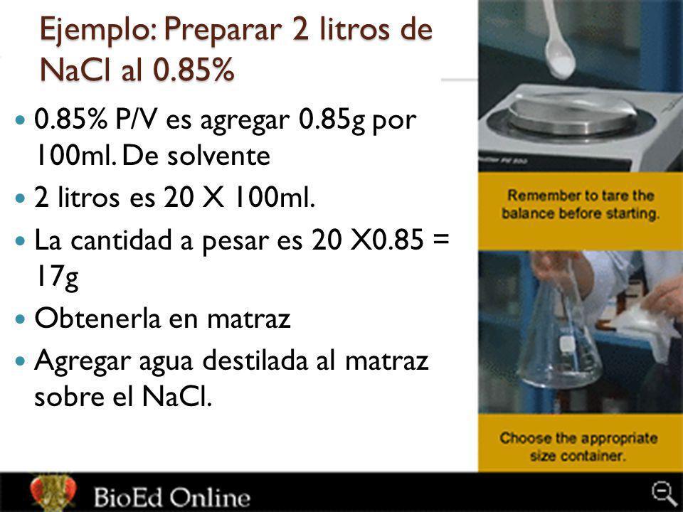 Ejemplo: Preparar 2 litros de NaCl al 0.85%