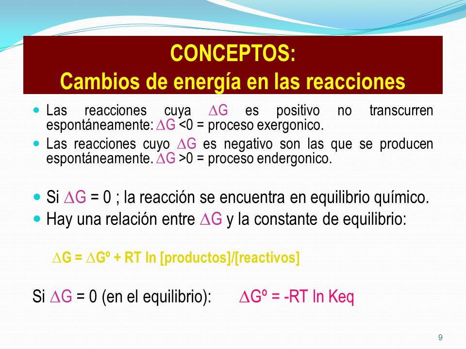 CONCEPTOS: Cambios de energía en las reacciones