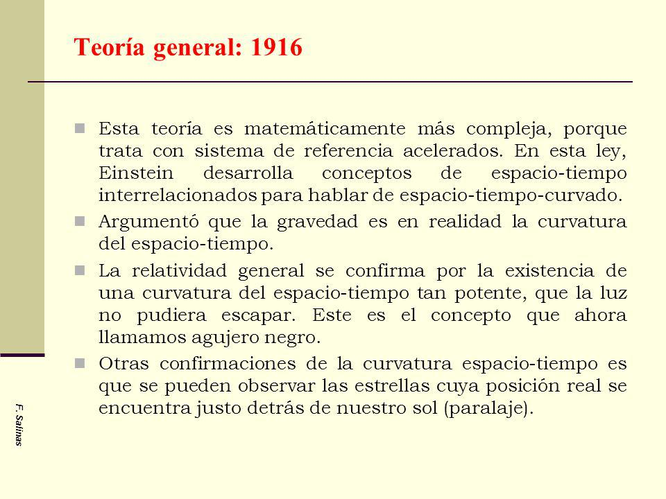 Teoría general: 1916