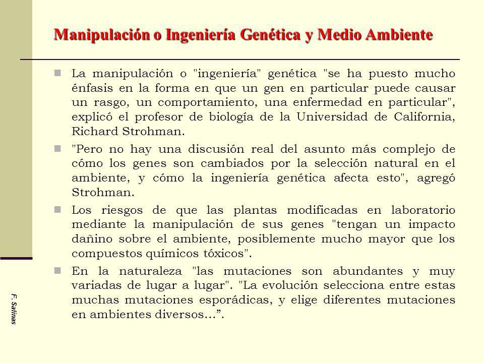 Manipulación o Ingeniería Genética y Medio Ambiente