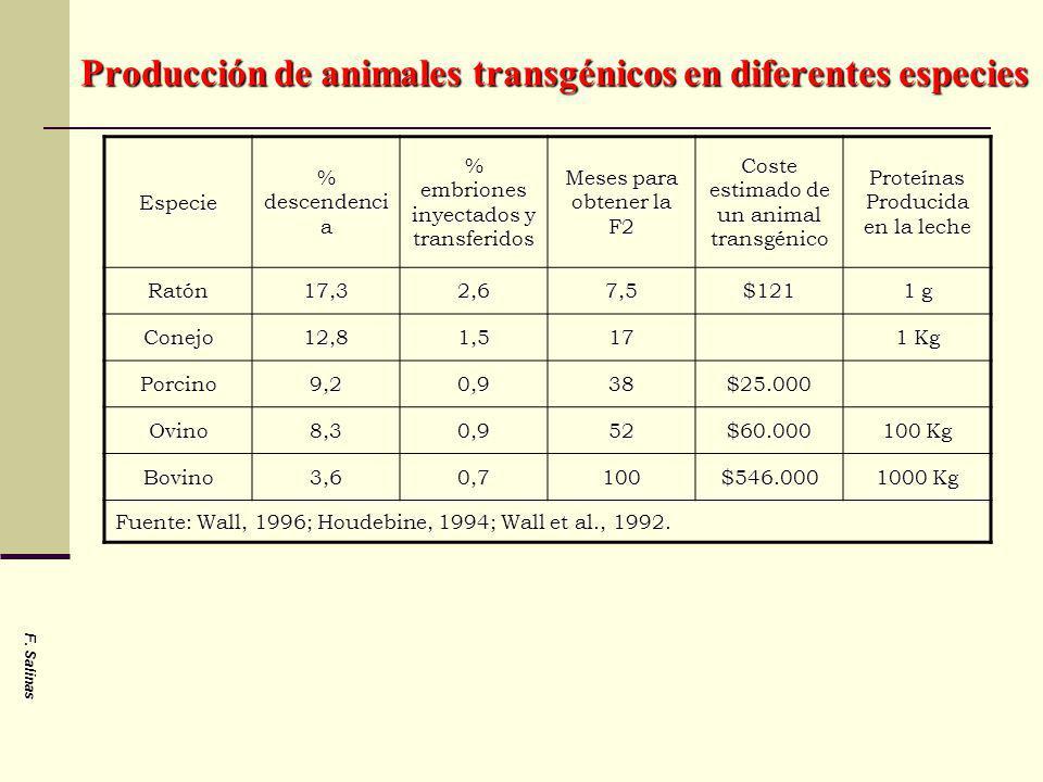 Producción de animales transgénicos en diferentes especies