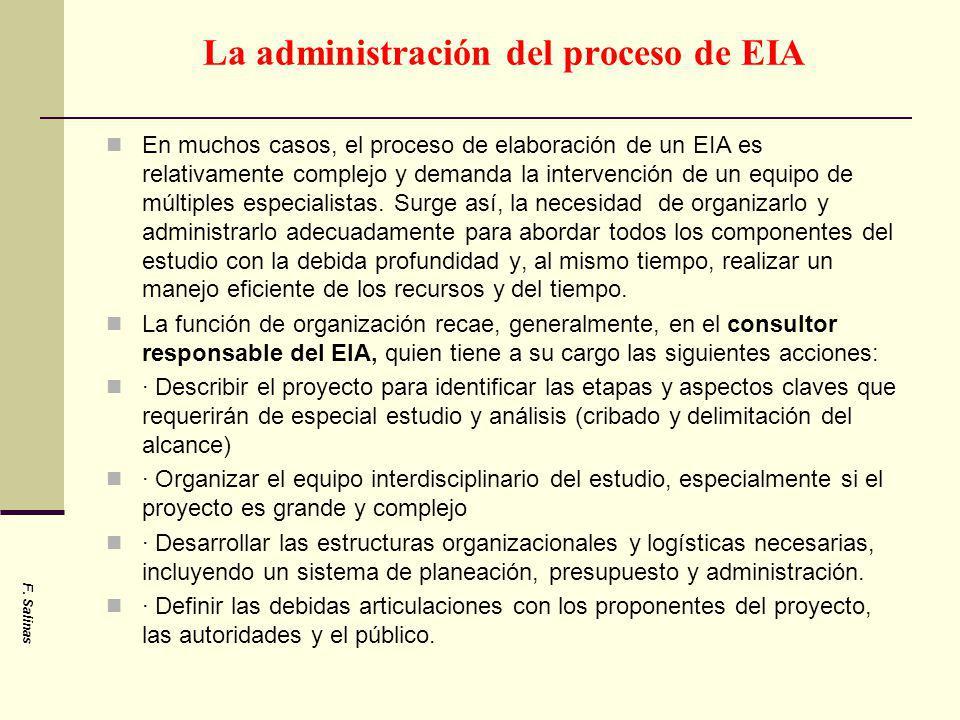 La administración del proceso de EIA