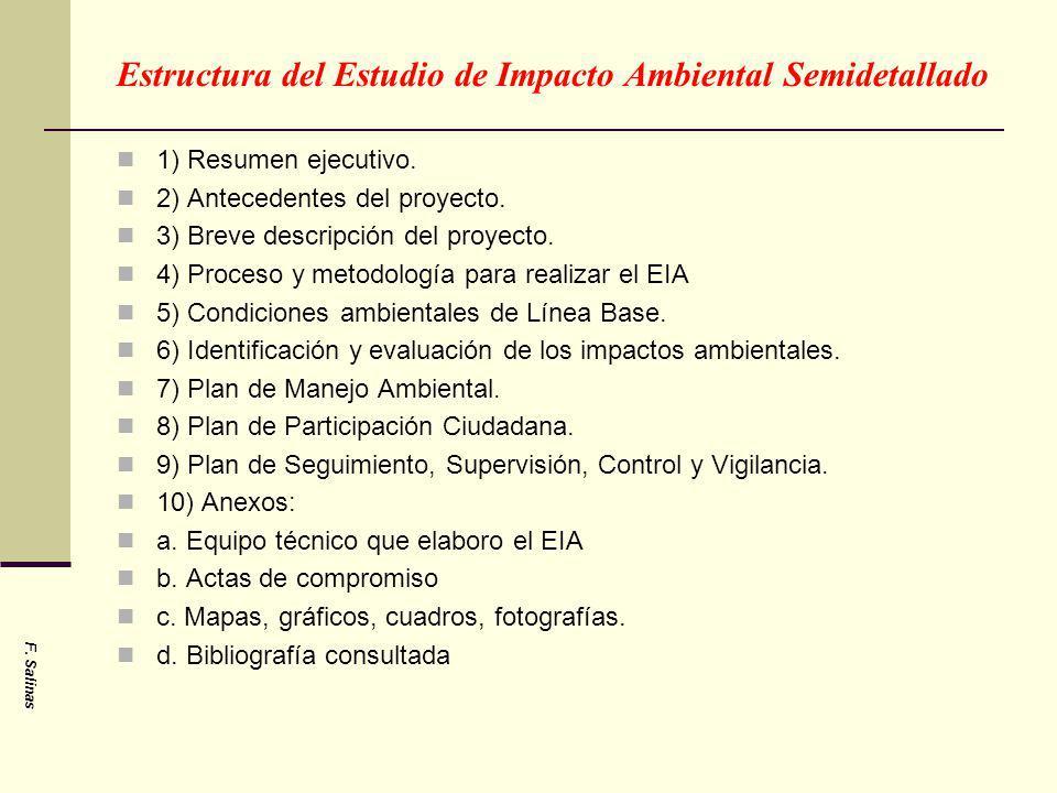 Estructura del Estudio de Impacto Ambiental Semidetallado