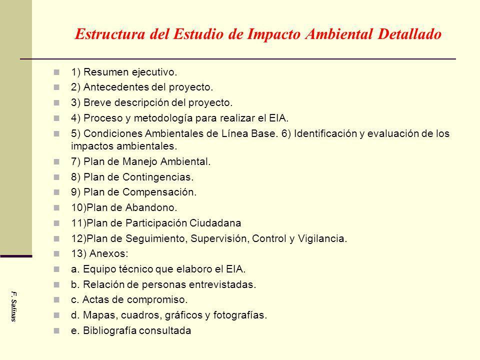 Estructura del Estudio de Impacto Ambiental Detallado