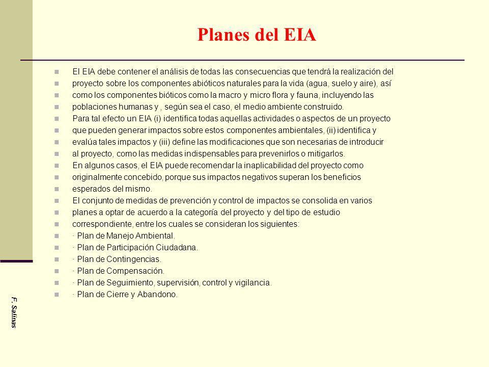 Planes del EIA El EIA debe contener el análisis de todas las consecuencias que tendrá la realización del.