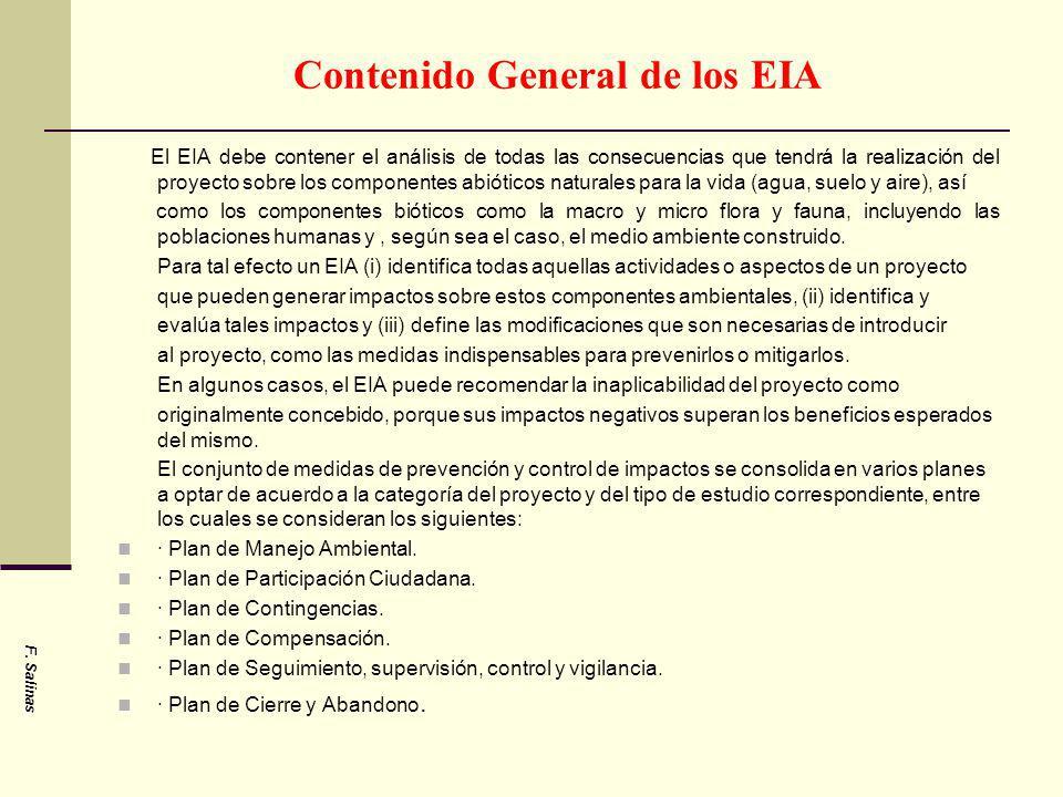 Contenido General de los EIA
