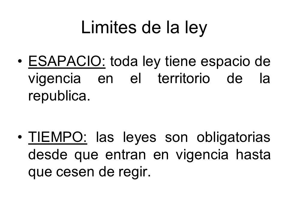 Limites de la ley ESAPACIO: toda ley tiene espacio de vigencia en el territorio de la republica.