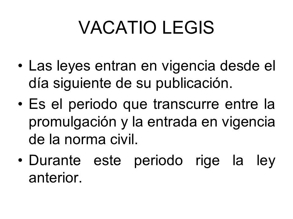 VACATIO LEGIS Las leyes entran en vigencia desde el día siguiente de su publicación.