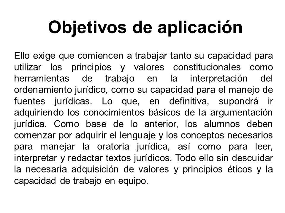 Objetivos de aplicación