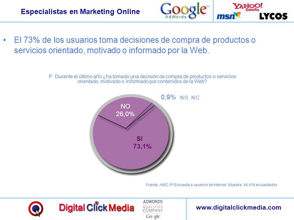 El 73% de los usuarios toma decisiones de compra de productos o servicios orientado, motivado o informado por la Web.