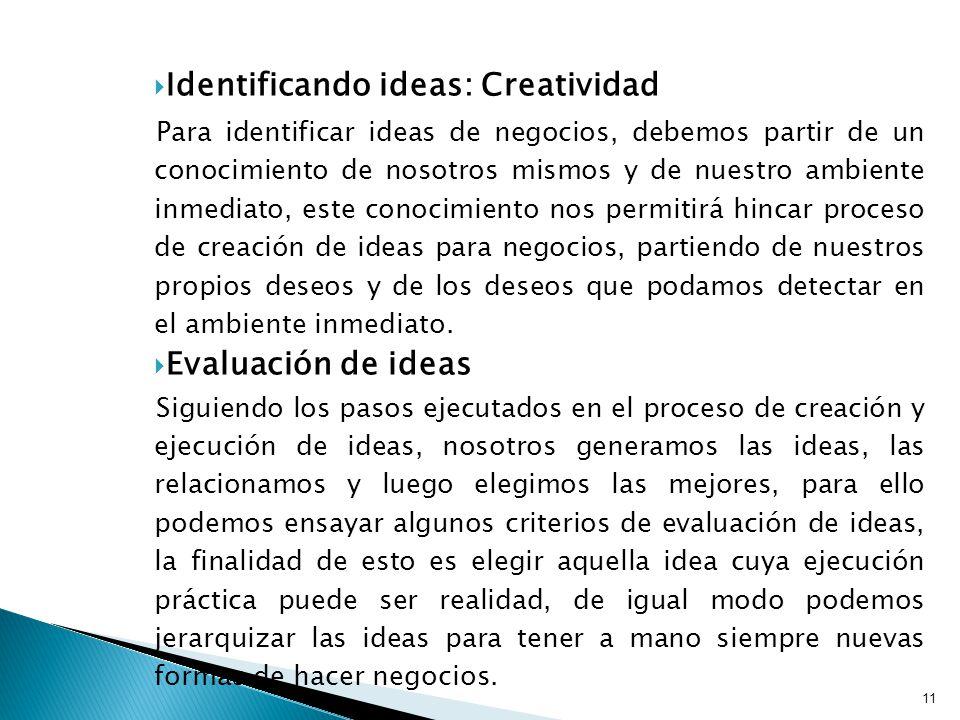 Identificando ideas: Creatividad
