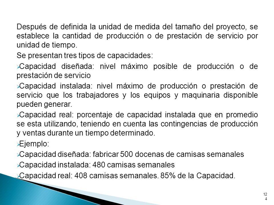 Después de definida la unidad de medida del tamaño del proyecto, se establece la cantidad de producción o de prestación de servicio por unidad de tiempo.