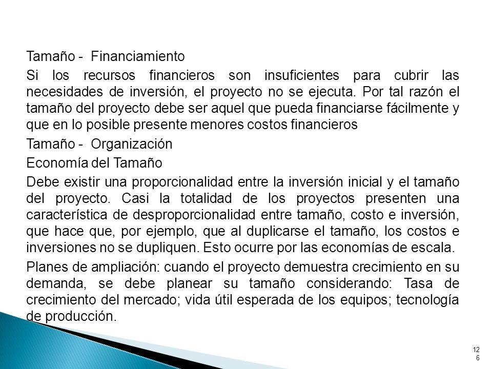 Tamaño - Financiamiento Si los recursos financieros son insuficientes para cubrir las necesidades de inversión, el proyecto no se ejecuta.