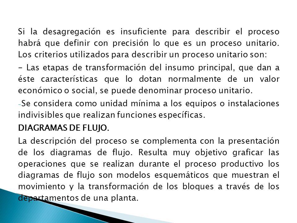 Si la desagregación es insuficiente para describir el proceso habrá que definir con precisión lo que es un proceso unitario. Los criterios utilizados para describir un proceso unitario son: