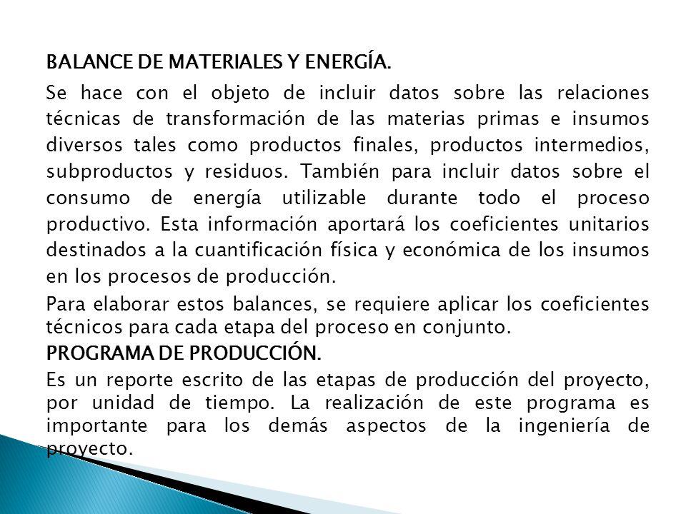 BALANCE DE MATERIALES Y ENERGÍA.