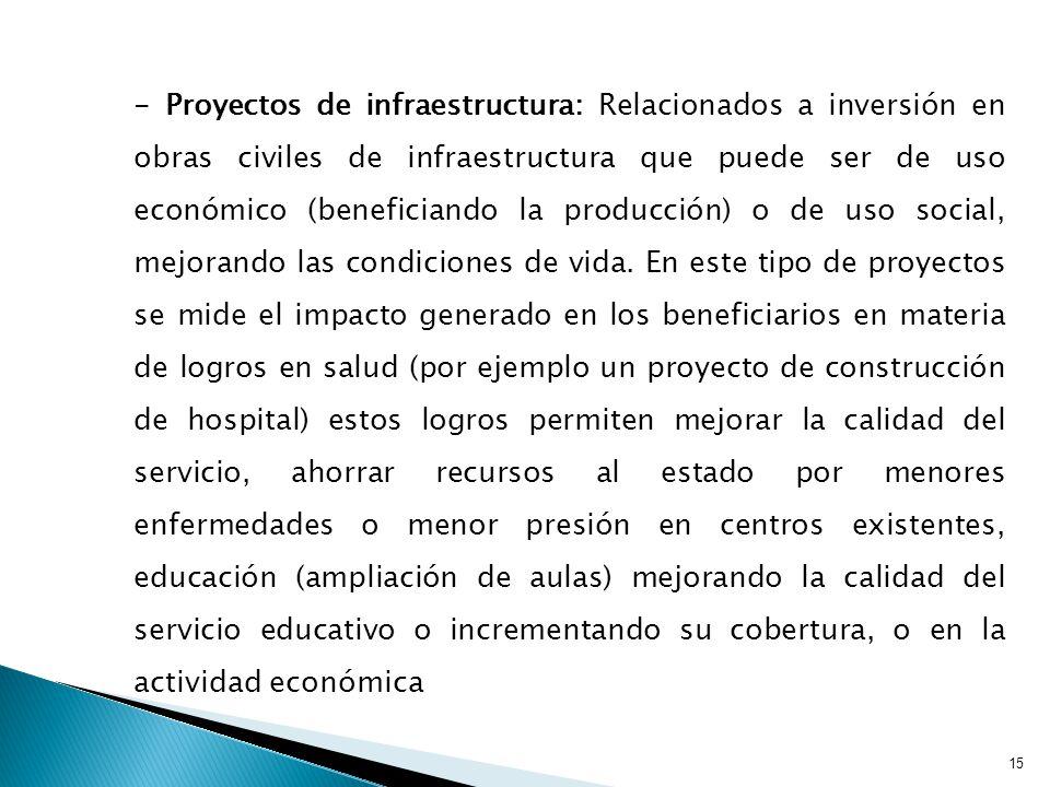 - Proyectos de infraestructura: Relacionados a inversión en obras civiles de infraestructura que puede ser de uso económico (beneficiando la producción) o de uso social, mejorando las condiciones de vida.