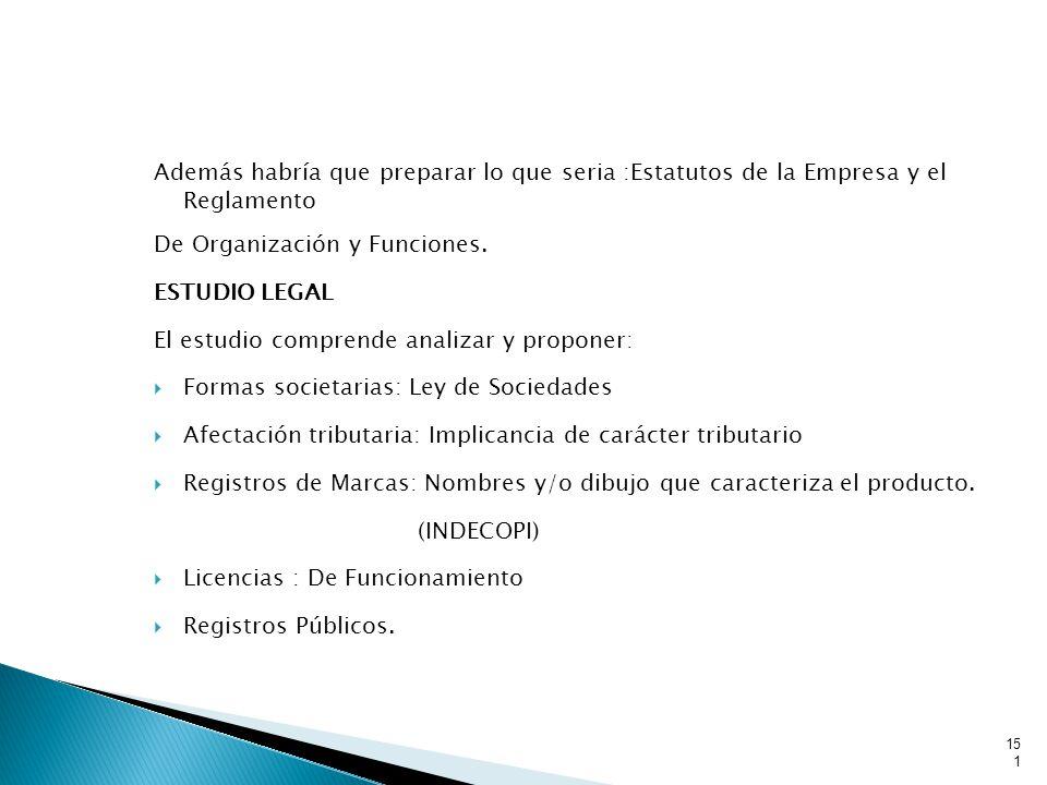 Además habría que preparar lo que seria :Estatutos de la Empresa y el Reglamento