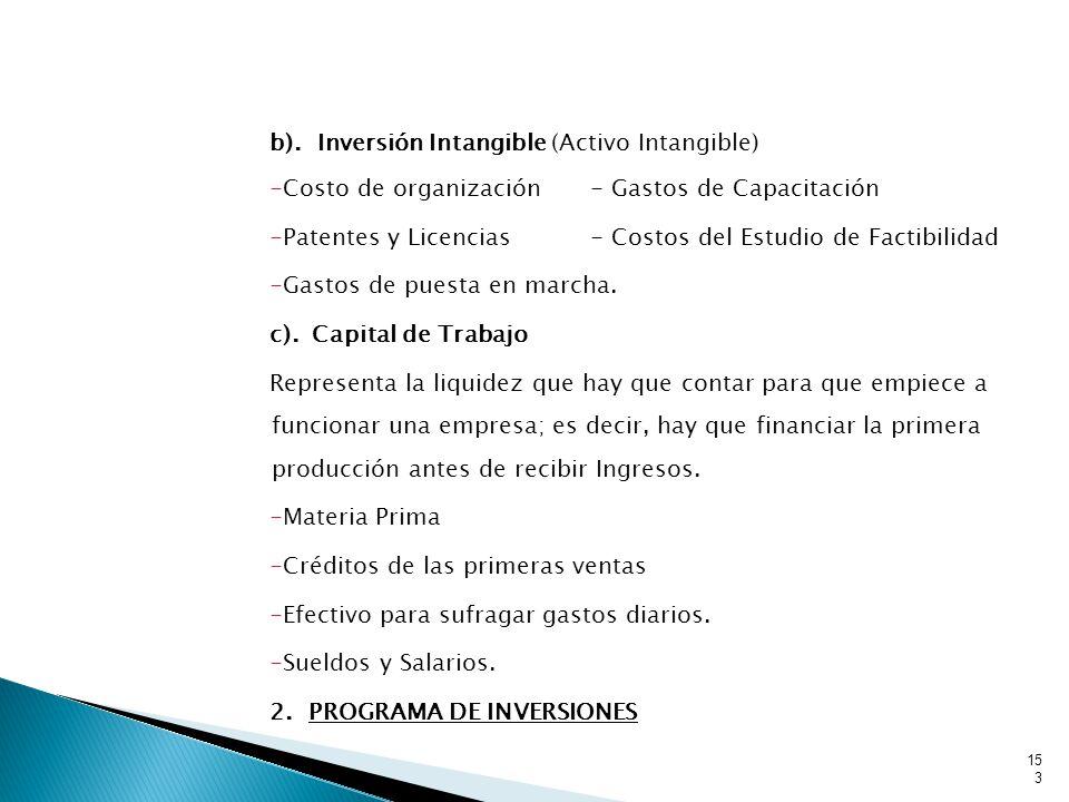 b). Inversión Intangible (Activo Intangible)