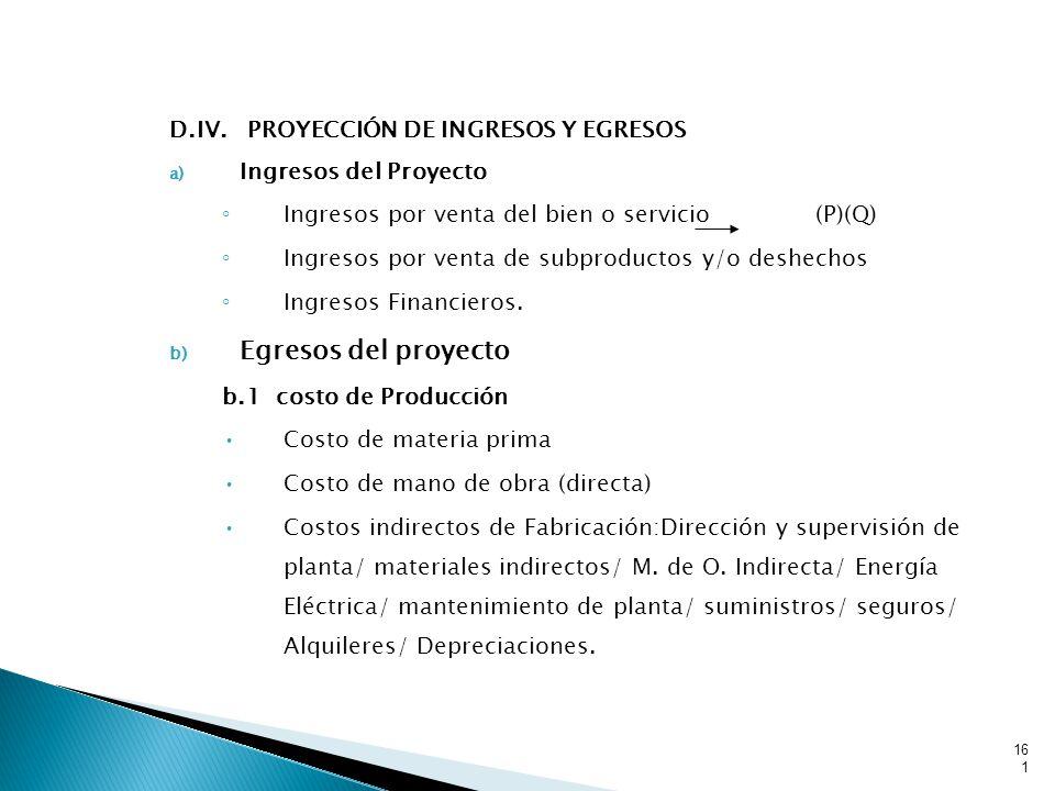 Egresos del proyecto D.IV. PROYECCIÓN DE INGRESOS Y EGRESOS