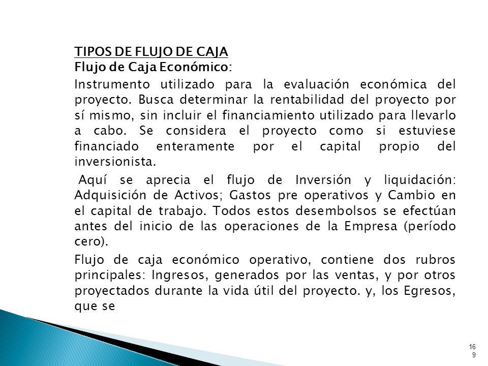 TIPOS DE FLUJO DE CAJA Flujo de Caja Económico: Instrumento utilizado para la evaluación económica del proyecto.