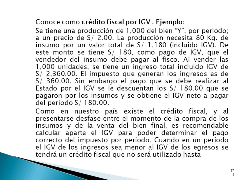 Conoce como crédito fiscal por IGV
