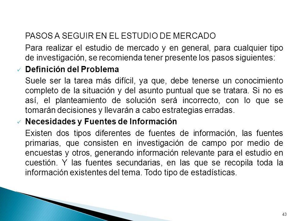 PASOS A SEGUIR EN EL ESTUDIO DE MERCADO