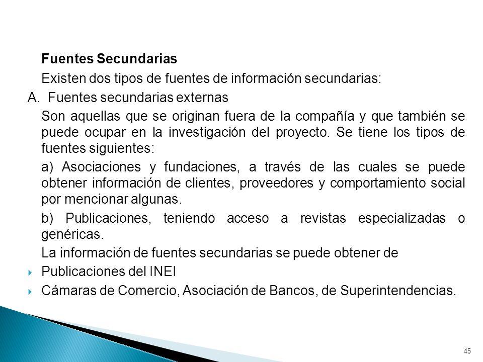 Fuentes Secundarias Existen dos tipos de fuentes de información secundarias: A. Fuentes secundarias externas.