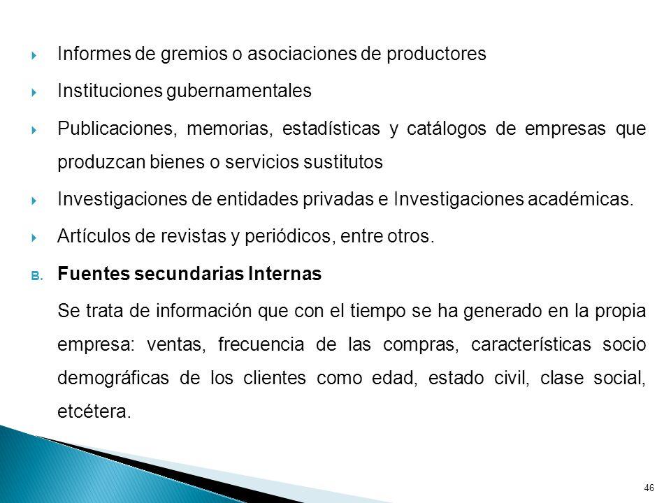Informes de gremios o asociaciones de productores