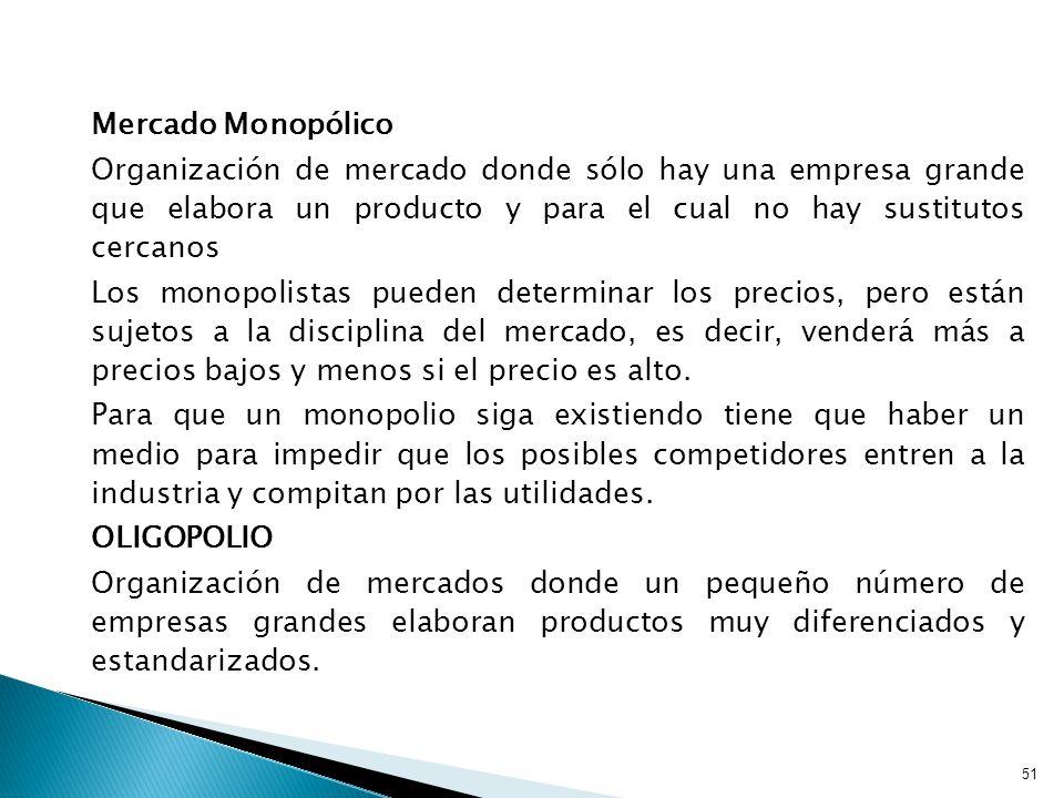 Mercado Monopólico Organización de mercado donde sólo hay una empresa grande que elabora un producto y para el cual no hay sustitutos cercanos.