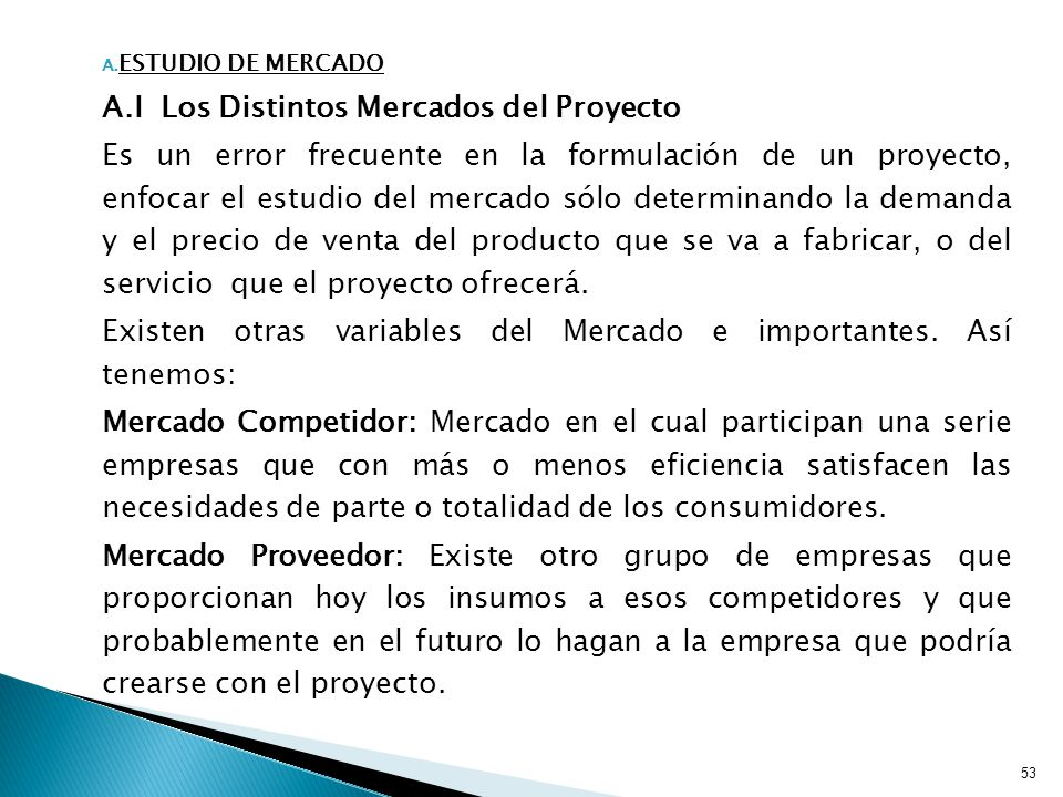 A.I Los Distintos Mercados del Proyecto