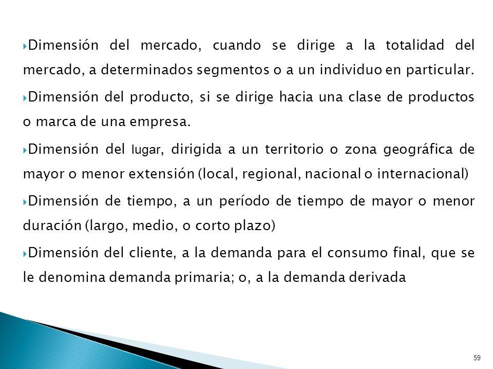 Dimensión del mercado, cuando se dirige a la totalidad del mercado, a determinados segmentos o a un individuo en particular.