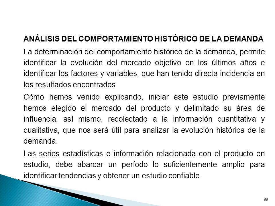 ANÁLISIS DEL COMPORTAMIENTO HISTÓRICO DE LA DEMANDA