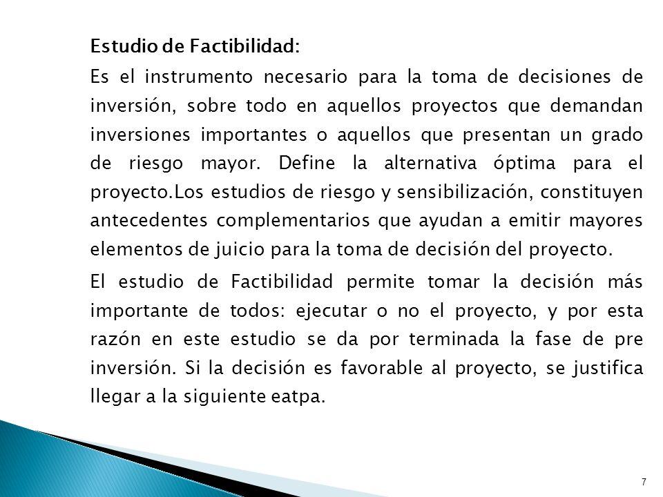 Estudio de Factibilidad: Es el instrumento necesario para la toma de decisiones de inversión, sobre todo en aquellos proyectos que demandan inversiones importantes o aquellos que presentan un grado de riesgo mayor.
