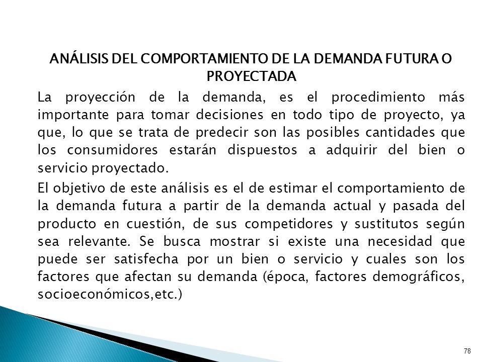 ANÁLISIS DEL COMPORTAMIENTO DE LA DEMANDA FUTURA O PROYECTADA