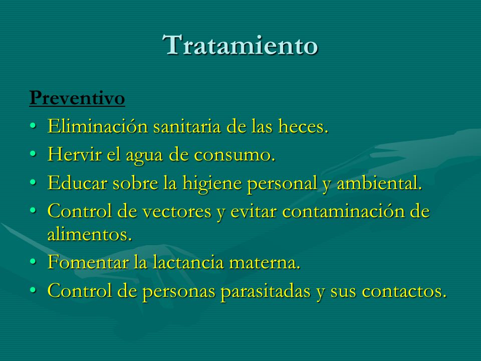 Tratamiento Preventivo Eliminación sanitaria de las heces.