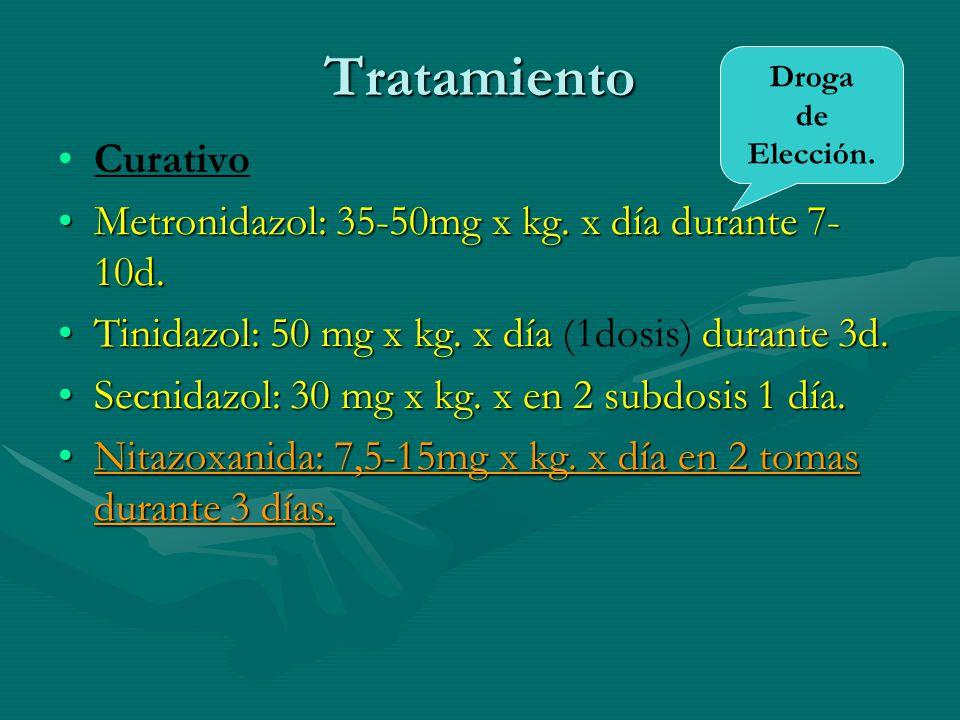 Tratamiento Curativo Metronidazol: 35-50mg x kg. x día durante 7-10d.