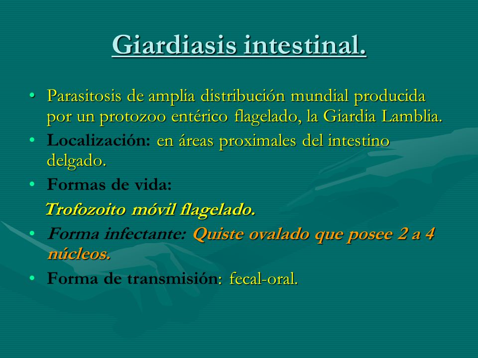 Giardiasis intestinal.