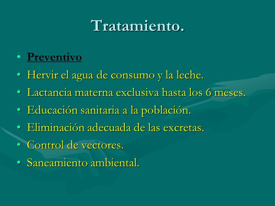 Tratamiento. Preventivo Hervir el agua de consumo y la leche.