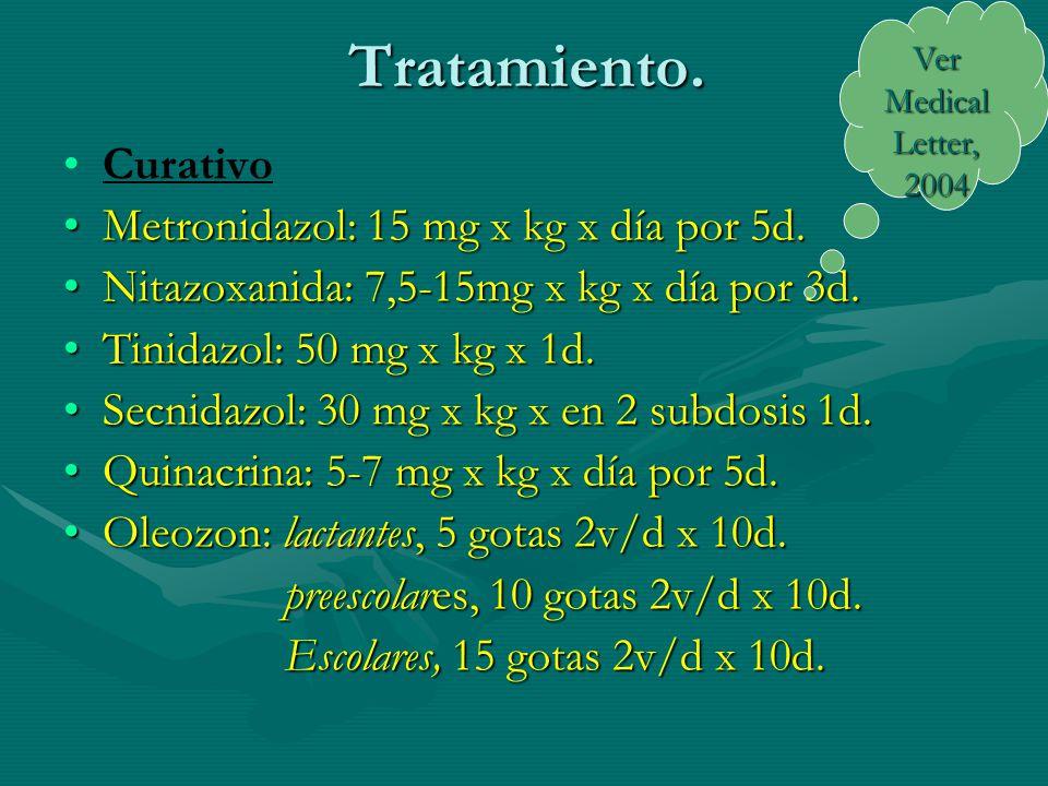 Tratamiento. Curativo Metronidazol: 15 mg x kg x día por 5d.