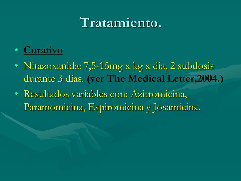 Tratamiento. Curativo. Nitazoxanida: 7,5-15mg x kg x dia, 2 subdosis durante 3 días. (ver The Medical Letter,2004.)
