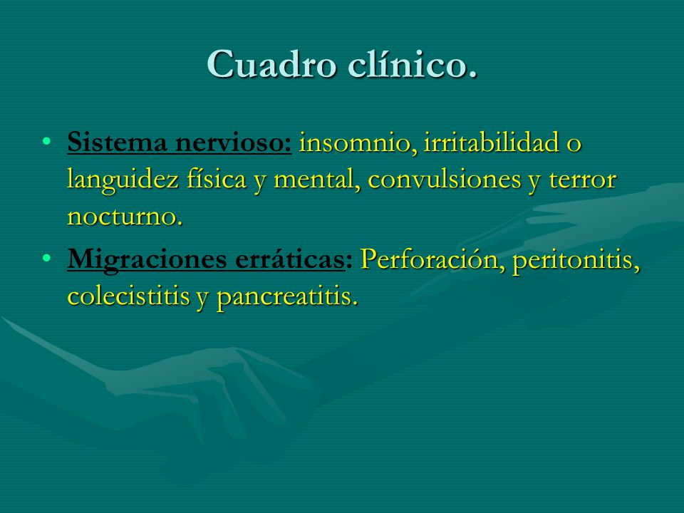 Cuadro clínico. Sistema nervioso: insomnio, irritabilidad o languidez física y mental, convulsiones y terror nocturno.